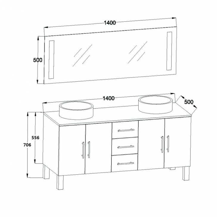dimension meuble double vasque