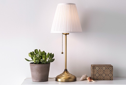 lamp on table