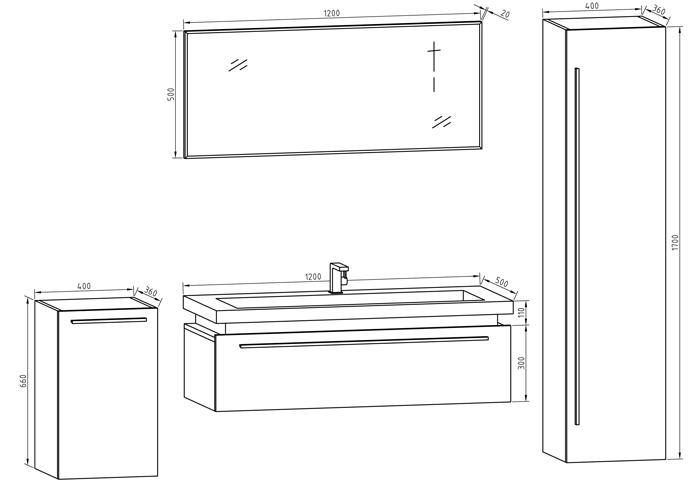 largeur meuble salle de bain